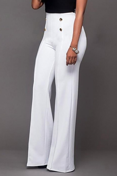 Women's Trendy Double Button Fly Front High Rise Solid Color Straight Flare Pants