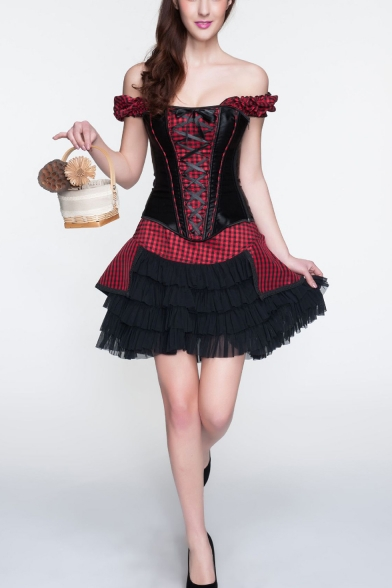 Women's Vintage Steampunk Puff Sleeve Red Plaid Patched Lace-Up Waist Cincher Corset Bustier Top