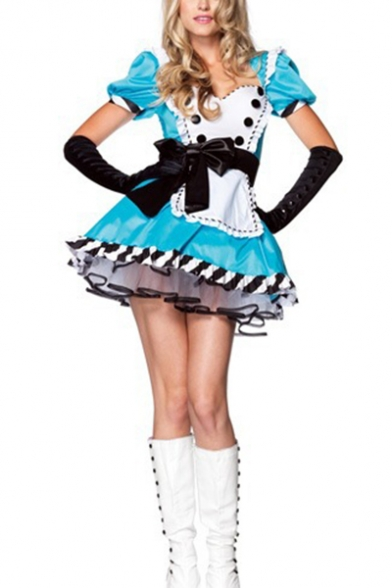 Womens Halloween Blue Alice Princess Cosplay Costume Puff Sleeve Flared Mini Dress