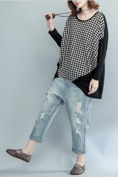 Womens Plus Size Fashion Houndstooth Printed Round Neck Long Sleeve Black Oversized Tee
