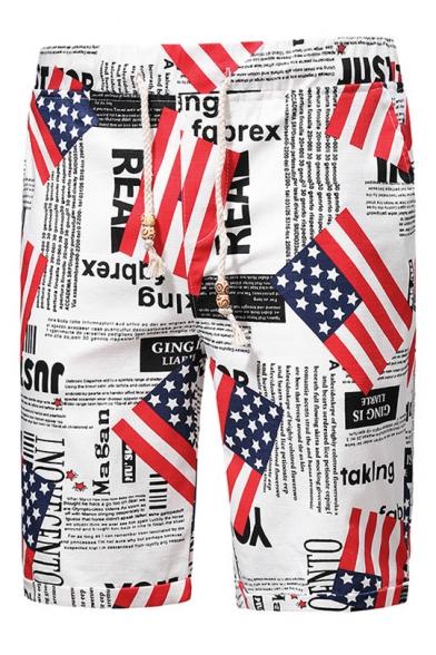 Drawstring Mens Flag Newspaper Swim Trunks with Pockets