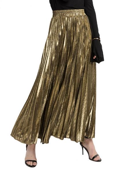 Fashion Metallic Color High Rise Elastic Waist Maxi A-Line Pleated Skirt