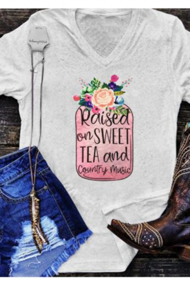 Floral Print Raised On Tea And Country Music Letter V Neck Short Sleeve Gray Graphic Tee