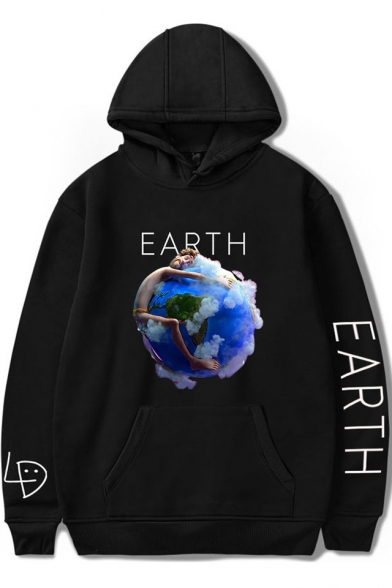 Funny Unique Earth Graphic Printed Loose Fit Pullover Unisex Hoodie
