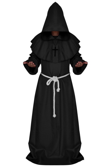 Halloween Cosplay Costume Medieval Monks Priest Robe Hooded Longline Coat for Men