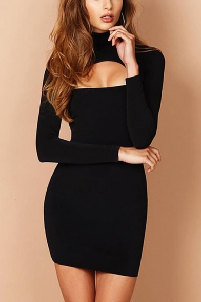 Hot Style Sexy Collared Long Sleeve Plain Print Cut Out Mini Bodycon Dress