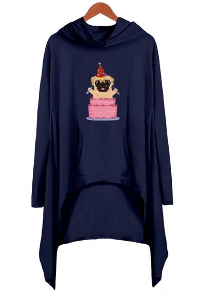 Lovely Cartoon Pug Dog Printed Long Sleeve Hooded Casual Loose Asymmetrical Dress