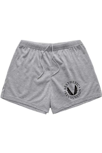 Mens Basic Simple Letter Logo Printed Drawstring Waist Fitness Cotton Quick Dry Swim Shorts