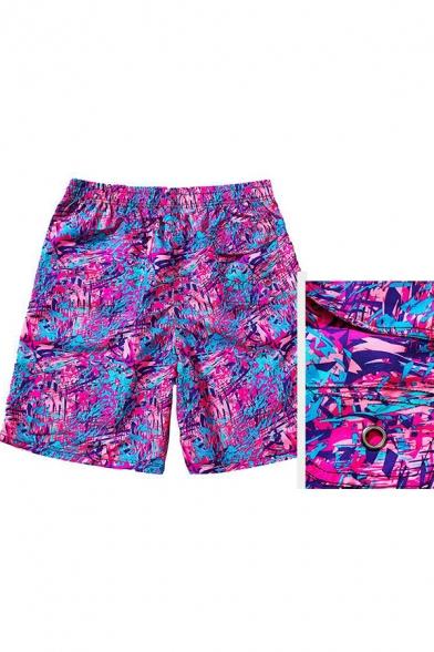 Mens New Trendy Pink Pattern Drawstring Waist Velcro Pocket Casual Loose Beach Swim Trunks