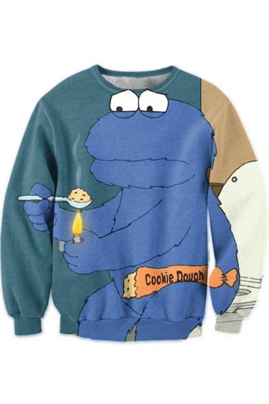 New Fashion Funny Comic Frog Printed Basic Long Sleeve Round Neck Blue Sweatshirt