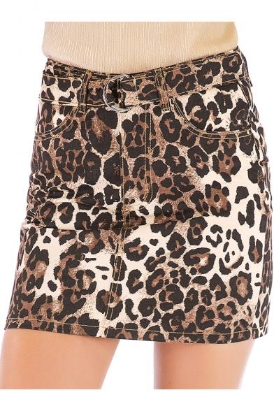 New Stylish Khaki Leopard Printed Summer High Rise Mini Bodycon Skirt