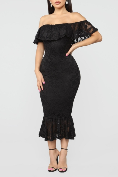 New Stylish Ruffled Off the Shoulder Maxi Bodycon Fishtail Prom Dress for Women
