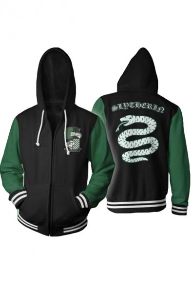 New Trendy Comic Snake Logo Printed Green Sleeve Zip Front Casual Hoodie