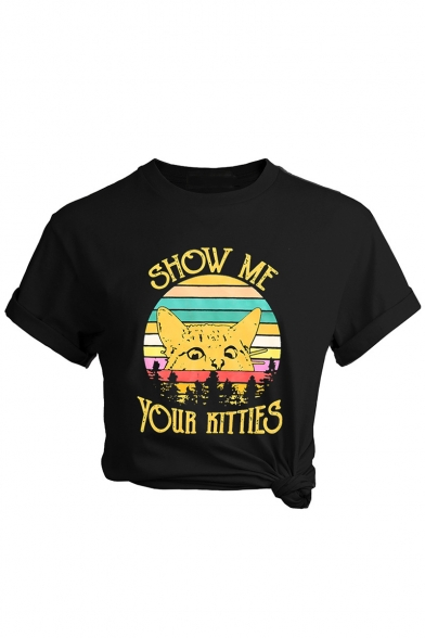 New Trendy SHOW ME YOUR KITTIES Letter Cat Printed Black Round Neck Short Sleeve Graphic T-Shirt