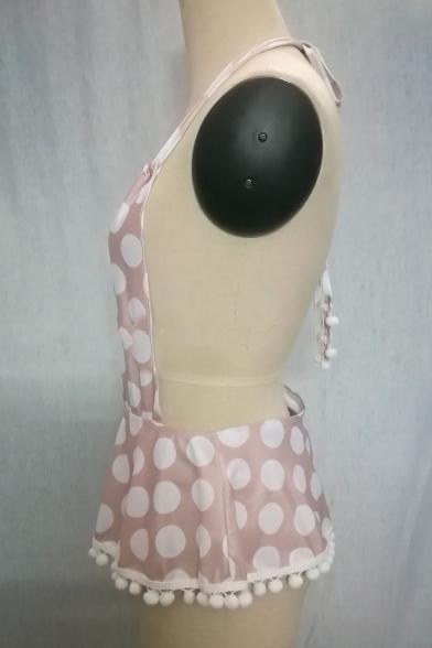 Polka Dot Printed Halter Neck Ruffle Hem Ball Patchwork Open Back One Piece Swimwear