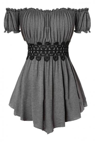 Sexy Off the Shoulder Short Sleeve Lace Waistband Asymmetrical Hem Longline T-Shirt