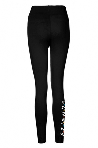 Simple Dot Letter FRIENDS Print Quick Dry Stretch Slim Fit Black Leggings