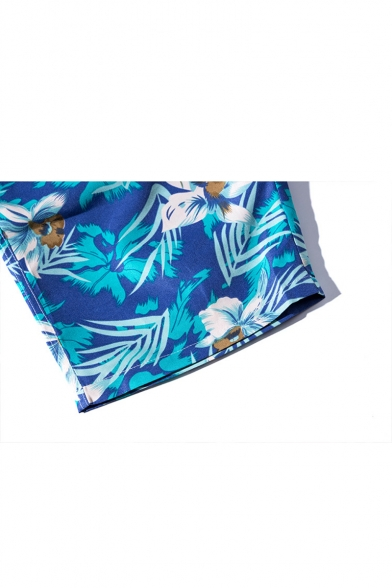 Summer Chic Blue Tropical Floral Printed Drawstring Waist Casual Board Shorts Swim Trunks
