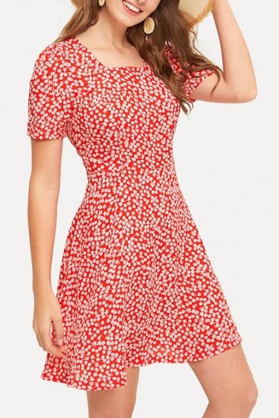 Summer Vintage Square Neck Short Sleeve Floral Printed Red Mini A-Line Dress