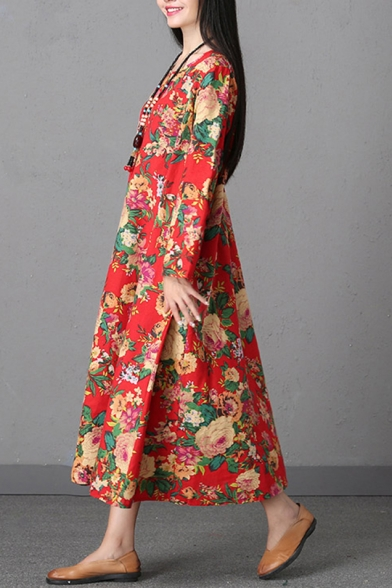 Women's New Trendy Ethnic Floral Printed Round Neck Long Sleeve Maxi Cotton A-line Dress