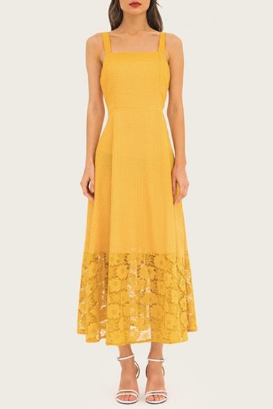 Women's New Trendy Yellow Insert Guipure Maxi Evening Dress Cami Dress
