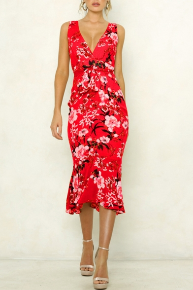 Women's Sexy Floral Print Bow-Tied Waist Plunge Neck Sleeveless Ruffle Side Slim Fit Maxi Wrap Dress