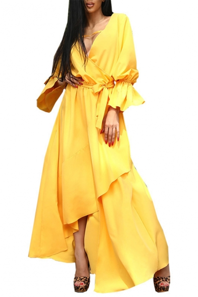 Women's Simple Yellow Plain V-Neck Ruffle Long Sleeves Bow-Tied Waist Front Maxi Asymmetrical Dress