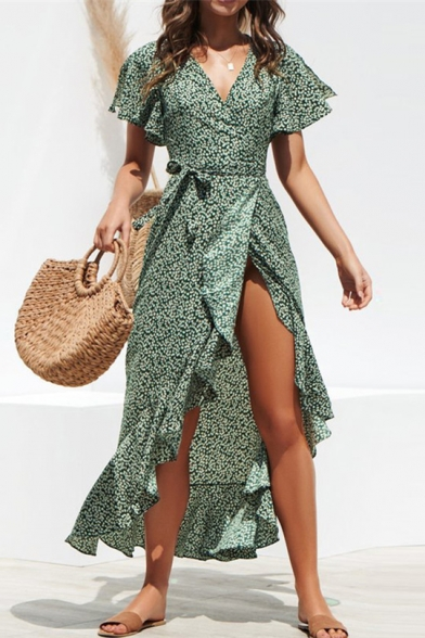 Women's Summer Fashion Floral Print Surplice V-Neck Ruffled Maxi Chiffon Wrap Dress
