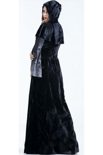 Womens Black Cosplay Costume Halloween Black Ghost Witch Vampire Cloak Dress Outfit Hooded Robe