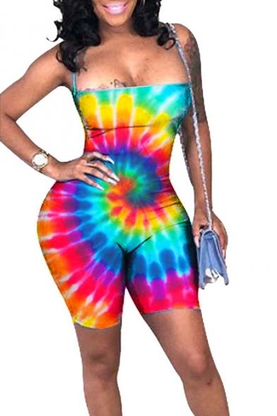 Womens Cool Street Fashion Rainbow Tie Dye Polka Dot Printed Sexy Strap Skinny Fit Jumpsuit Romper