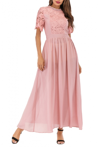 Womens Pink Round Neck Short Sleeve Lace-Patched Maxi Fit and Flared Prom Evening Dress