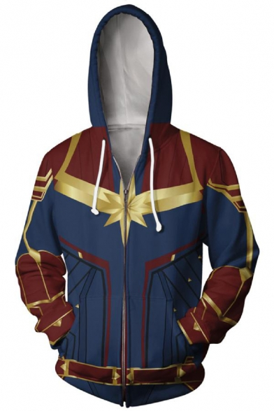 Captain Marvel Cool 3D Print Long Sleeve Cosplay Costume Full Zip Blue and Red Hoodie