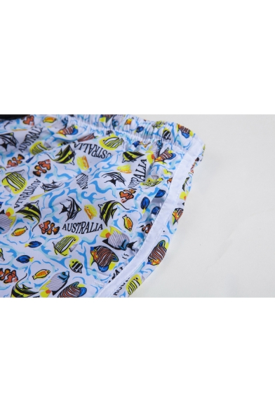 Fashion Allover Sea fish Letter Print Mens Blue Lounge Shorts Beach Swim Shorts