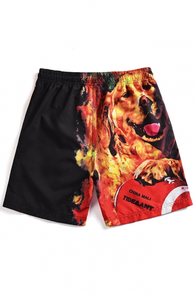 Fire Dog Printed Mens Drawstring Waist Black Casual Beach Shorts Swim Trunks