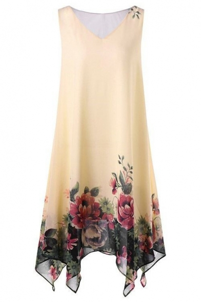 Floral Print V-Neck Sleeveless Midi Asymmetric Hem Chiffon Dress For Women