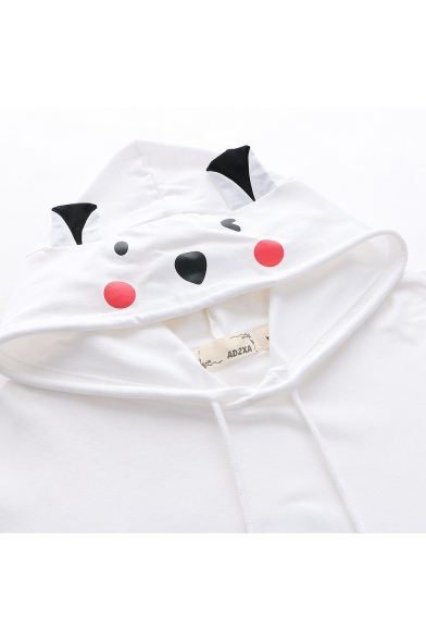 Lovely Cartoon Bear Printed Short Sleeve Hooded Girls T-Shirt