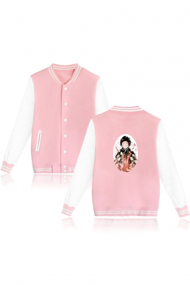 New Fashion Comic Character Print Colorblock Rib Collar Unisex Button Down Varsity Jacket Baseball Jacket