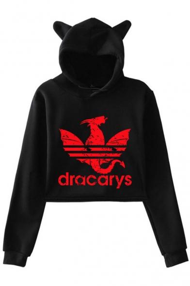 New Fashion Dragon Dracarys Long Sleeve Cat Ear Design Pullover Crop Hoodie, Black;dark navy;pink;white;gray, LM521752