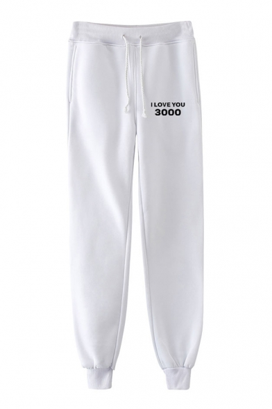New Popular Letter I Love You 3000 Drawstring Waist Unisex Sport Joggers Sweatpants