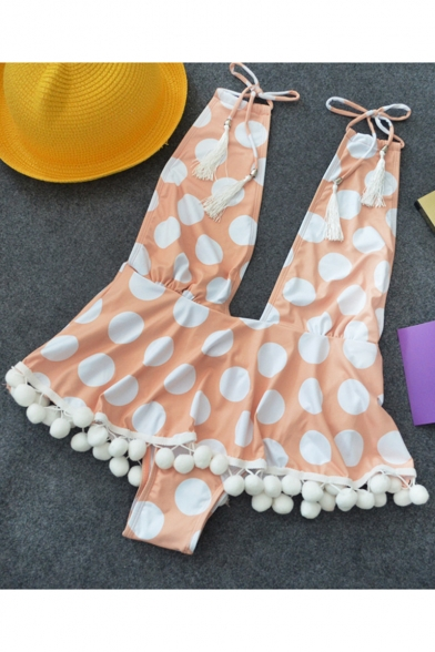 New Stylish Polka Dot Printed Halter Plunged Neck Lovely Pompom Hem Orange One Piece Swimsuit Swimwear