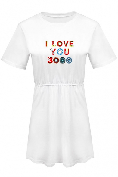 Round Neck Short Sleeve Fancy Colorful Letter I Love You 3000 Mini T-Shirt Dress A-Line Dress