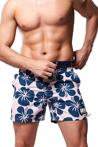 Summer Chic Blue Floral Printed Button Fly Casual Loose Beach Swim Shorts