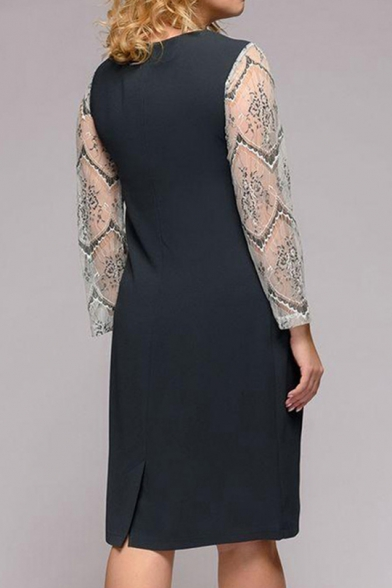 Summer Elegant Solid Color Mesh Patched Long Sleeve Cut Out Round Neck Midi Grey Dress for Women