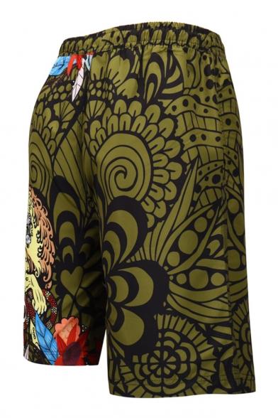 Summer Men's Fashion Animal Printed Drawstring Waist Mesh Panel Inside Quick Dry Beach Swim Trunks