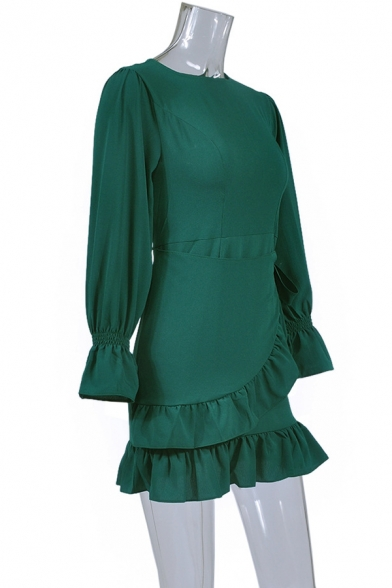Summer Round Neck Flared Cuff Long Sleeve Solid Color Tied Ruffled Mini A-Line Dress