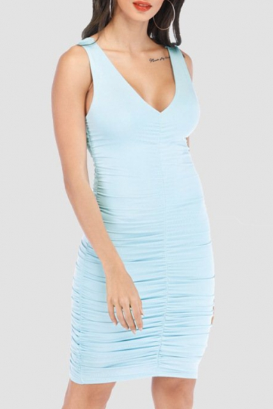 Summer Unique V-Neck Sleeveless Plain Print Midi Bodycon Tank Dress For Women