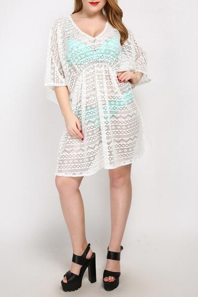 Summer Womens Plus Size V-Neck Cover Ups Beach Bikini Swimwear, Black;white;lake blue, LM516650