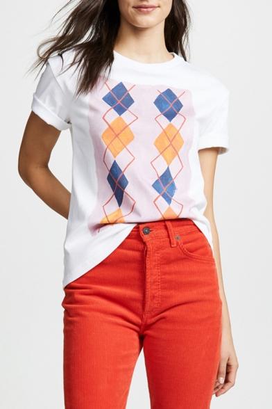 Trendy Geometric Printed White Round Neck Short Sleeve Tee
