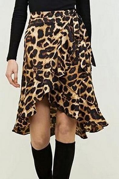 Trendy Khaki Leopard Printed Tied Waist Ruffled Hem Wrap Around Skirt