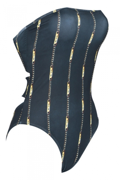 Trendy Vertical Striped Printed Knotted Back Bandeau One Piece Swimsuit Swimwear